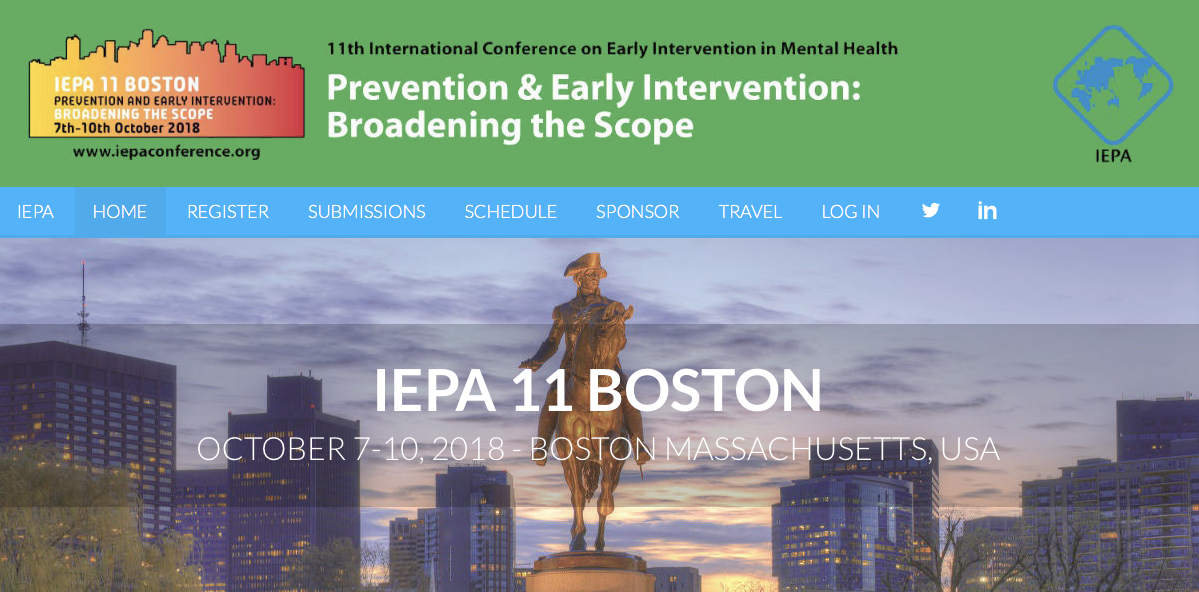11th International Conference on Early Intervention in Mental Health: Prevention and Early Intervention: Broadening the Scope. Boston (USA), 7-10 Ottobre 2018.