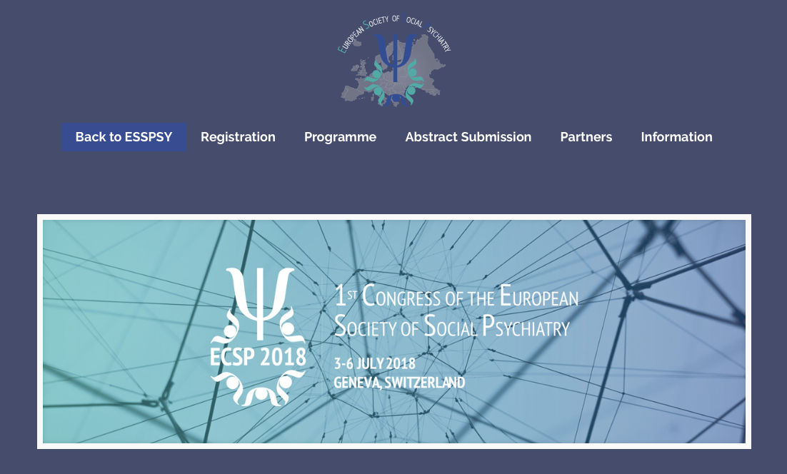 """1st Congress of the European Society of Social Psychiatry """"Networks, links and controversies in Social Psychiatry across Europe"""". 3-6 luglio 2018. Ginevra."""